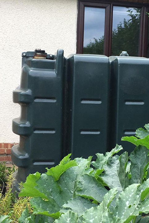 An oil heating tank in the garden