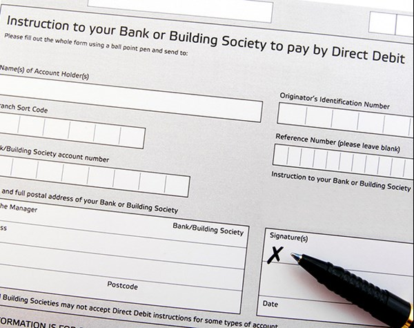Picture of a direct debit instruction form